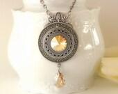 Golden Shadow Swarovski Crystal Necklace  - Victorian Silver Pendant - Victorian Gothic Jewelry