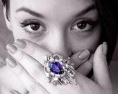 Large  Gothic Ring - Purple Statement Swarovski Ring - Fantasy Gothic Jewelry