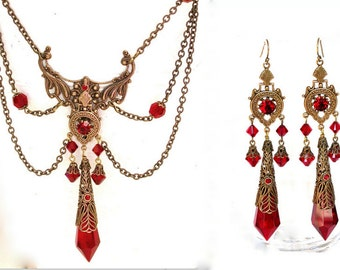 Red Victorian Gothic Jewelry Set Swarovski Crystals Necklace Earrings - Victorian Gothic Jewelry