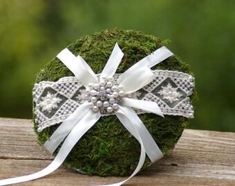 Ring Bearer Moss  Pillow  Brooch Shabby Chic
