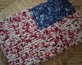 READY TO SHIP - 7 x 9 Inch Americana Table Mat, Red White And Blue Pot Holder, Primitive Place Mat, Memorial Day, Primitive