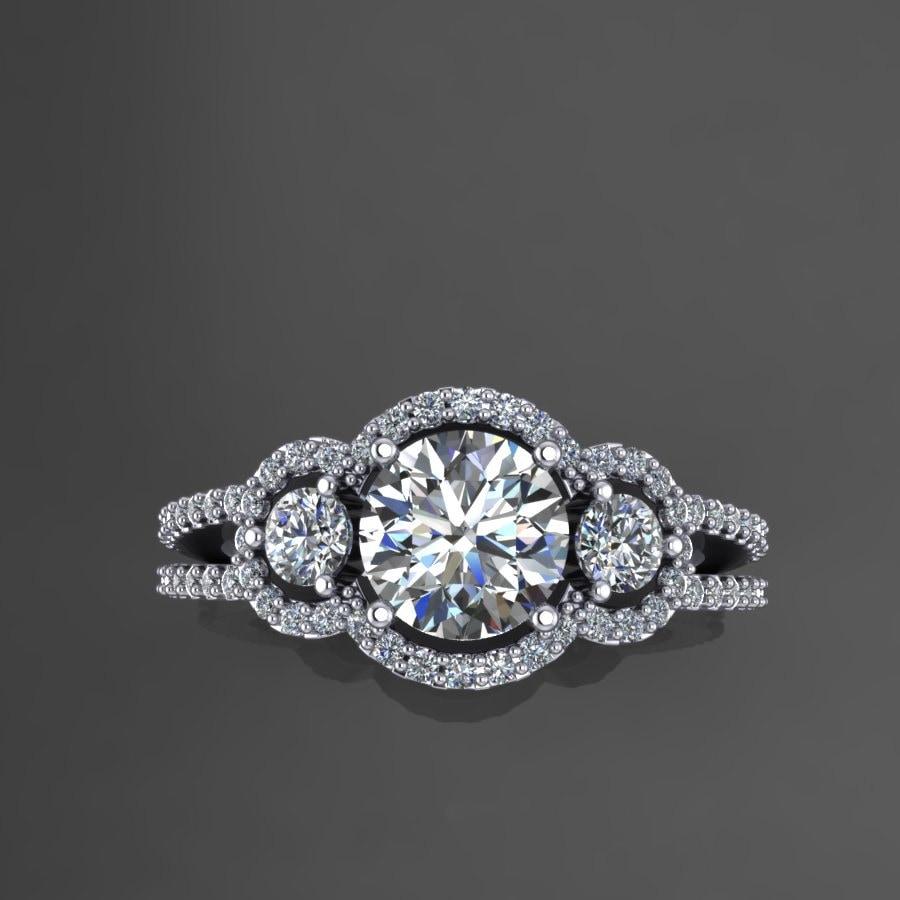 Diamond Halo Moissanite Engagement Ring In 14k White Gold