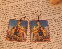 Maxfield Parrish earrings mixed media jewelry Art jewelry