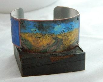 Van Gogh bracelet Van Gogh jewelry mixed media jewelry Wheatfields with Crows