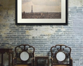 Eiffel Tower Paris Cityscape | Large Wall Art | View of Paris | Photography | Vintage Texture Soft | Love | Dreamy | Travel