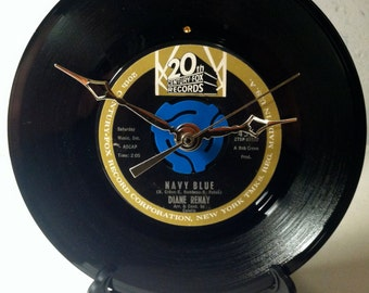 "Recycled DIANE RENAY 7"" Record / Navy Blue / Record Clock"