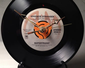 "Recycled SUPERTRAMP 7"" Record / Goodbye Stranger / Record Clock"