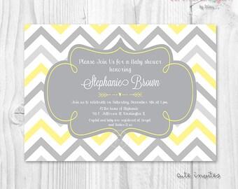 Printable baby shower invitation yellow and grey chevron arrow