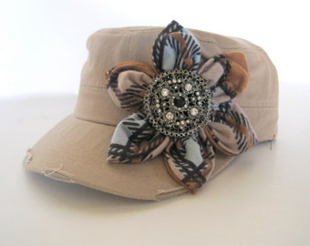 Khaki Cadet Military Distressed  Army Hat with Flannel Petal Flower and Gorgeous Rhinestone Brooch Accent