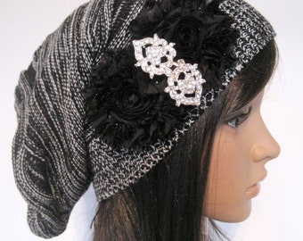 Black and White Knit Slouch Beanie Winter Hat With Black Chiffon Flowers and a Beautiful Rhinestone Accent