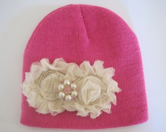 Pink Baby Girl Knit Hat Beanie with Ivory Chiffon Flowers and a Pearl and Pink Rhinestone Pearl Accent
