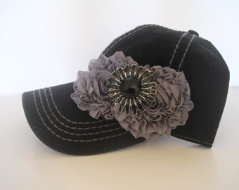 Black  Trucker Baseball Cap with Grey Stitching and Grey Chiffon Flowers with a Black Stone Flower Accent