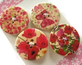 4 x Decorated Wooden Buttons - 30mm Wooden Buttons - Floral Buttons