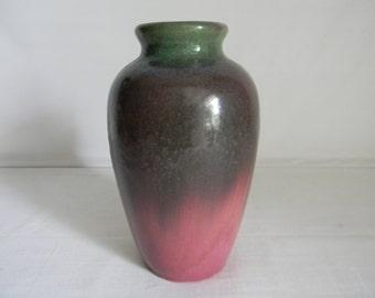 Vintage Fulper Pottery Vase Vasekraft Flemington NJ Green Flambe Rose Famille
