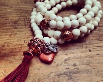 Stretch Mala Beads with Charms - Prayer Beads  - Copper -Meditation