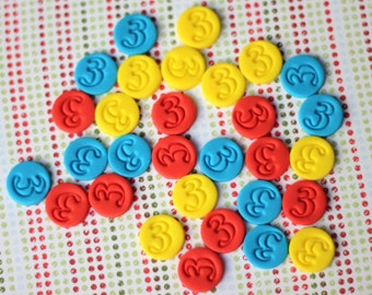 Fondant Cupcake Toppers - Fondant Dots with Age Number