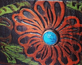"""Leather Cuff Bracelet with Southwest Flower design, Ready to ship size 7"""""""