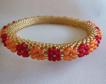 Bead Crochet Bangle:  Citrus Blossoms