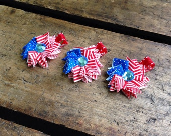 MINI-SHABBY FLOWER -  Fourth of July, flag, summer, mini, shabby, flower, fabric, hair clip