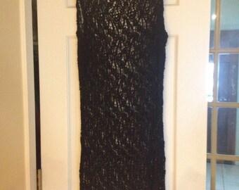 Exquisite Open Weave Black Over-Dress Little Black Dress - Stretchy Vintage Retro Boho