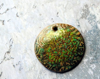 Abstract Meadow, pendant, focal bead, green, blue, gold, bronze, brown, beige, polymer clay