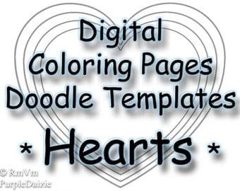 Printable Coloring Book Digital Color Pages Zen Doodle Templates Heart Page ZendDoodle Template Kids 4