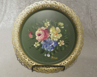 "Tray Cut Out Scalloped Edge Hand Painted Floral Design Bright Colors Signed ""Francis"" Excellent Condition"