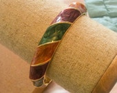 Red Green Enamel Bracelet 1960s Vintage Jewelry