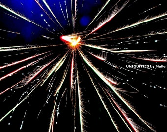 SALE Firework Art Photograph Print -Dragon's Breath, 8 x 10 inches, wall decor 4th of July Chinese patriotic New Year's Eve