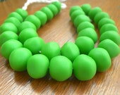 resin nugget shaped beads solid Lime approx 1 x strand of  34 beads