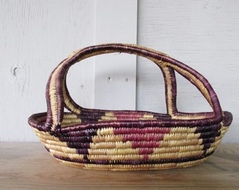 vintage native Basket woven grass Rustic Primitive Country Cottage Shabby French Farmhouse Chic