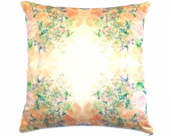 Floral Print Cushion, Pillow. Hand Painted, Rose Print. Peach/ Pink. Silk Cushion. Pastels. Home Accessory Interior Style. Country Interior