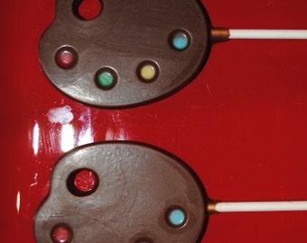 Chocolate Art Palette Lollipops