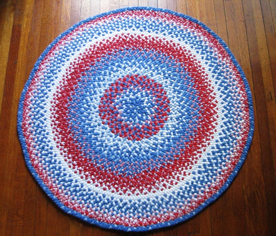 Blue And White Circle Rug: Hand Braided Rug Large Round Red White And Blue Area By