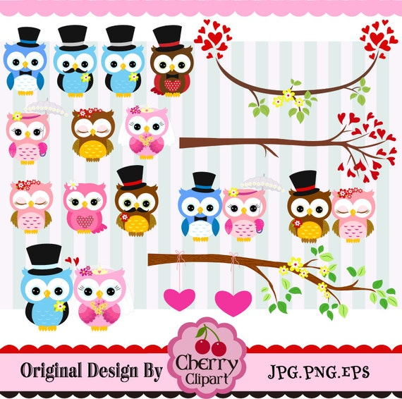 Wedding Owls,Couple Owls,Wedding & Valentines' Day Digital