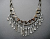 The Empress- Raw Quartz Crystal and Triangle Bib Necklace in Silver or Raw Brass- Tribal Statement Necklace