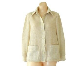 Women Cardigan Sweater Light Cardigan Cream Knit Cardigan Ivory Cardigan 70s Cardigan Button Up Sweater Retro Cardigan Woven Cardigan