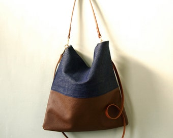 Leather Denim Tote Bag - HARRIS -  Adjustable Leather Shoulder Bag Leather Shopper Bag by Holm