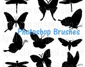 Butterfly, Moth and Dragonfly Photoshop Brushes and png, in Silhouette, Clip Art Set, Digital clipart