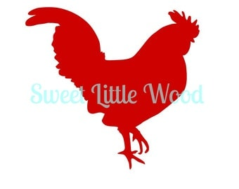 Rooster 3 x digital SVG file in black line with no fill, white fill and color format, PNG image included