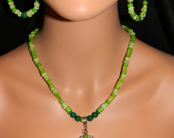Tree Of Life Necklace and Earring Set Green Turquoise