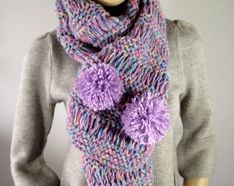 KNITTING PATTERN SCARF - I Love Pompoms Scarf Cowl Pattern - Woman Bulky big scarf knit pattern pompom cowl Pdf Pattern Instant Download