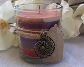 Handmade Multi-Colored Soy Candle With Peach, purple, apricot colors - 5 oz
