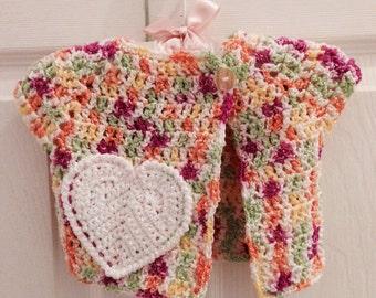 3-6 Months Magenta orange green & yellow baby girl Crochet Sweater