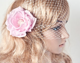 7931_Veil birdcage, Bridal veil birdcage, Bridal birdcage veil, Pink flower birdcage, Wedding birdcage, Fascinator birdcage, Blush rose
