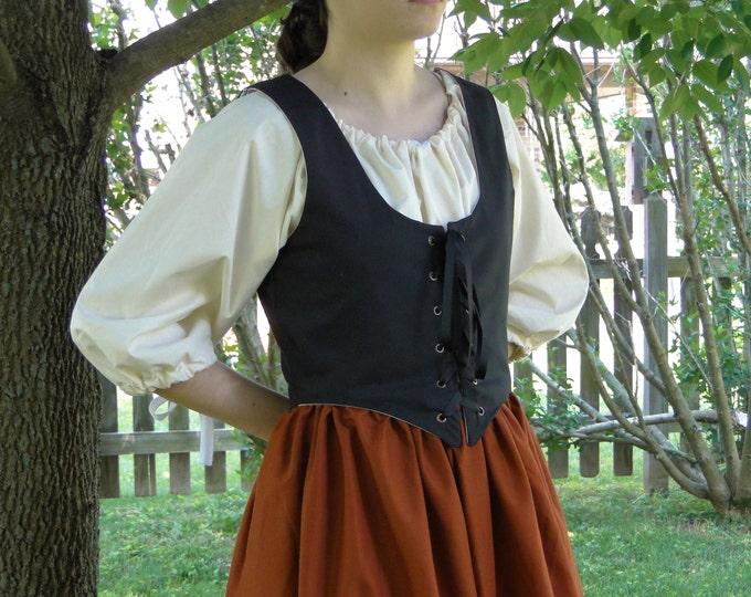 Renaissance Bodice, BLACK, Womens Size S, M, L, XL