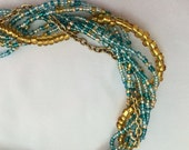 Gold and teal necklace