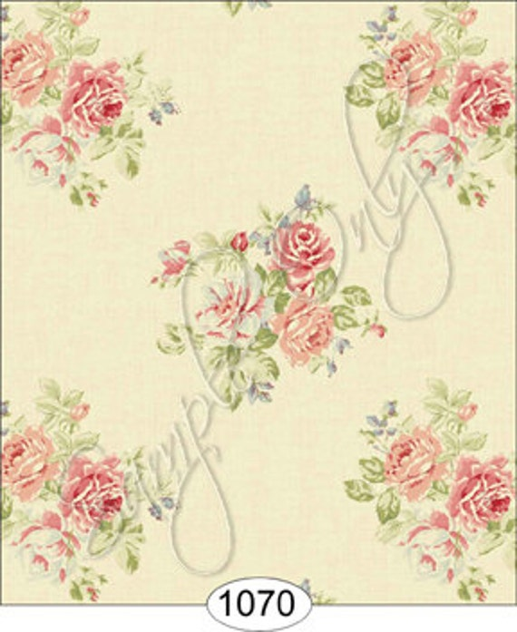 Dollhouse Wallpaper Antique Rose Scale One Inch