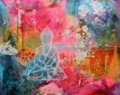 Buddha, giclee, print, collage, painting