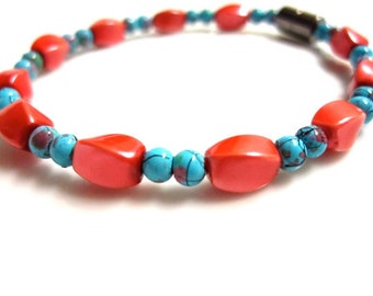 Magnetic Hematite Bracelet, Coral and Turquoise Bracelet, Coral Bracelet, Turquoise Bracelet, Magnetic Bracelet, Therapy Bracelet